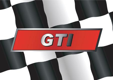 adrenaline: Geruite vlag met GTI badge op het