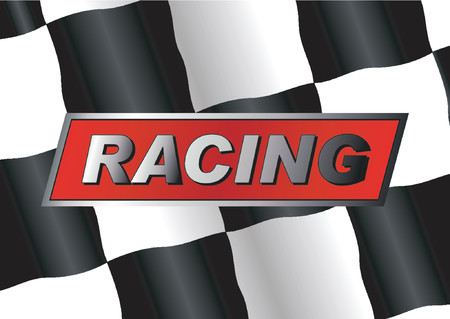 Checkered flag with RACING badge on it Stock Vector - 507272