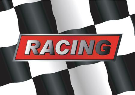 d�part course: Drapeau de Checkered avec EMBALLER linsigne l�-dessus