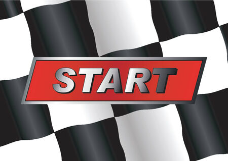 finish flags: Checkered flag with START badge on it