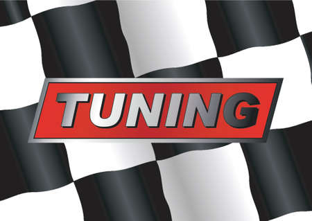tuning: Checkered flag with TUNING badge on it Illustration