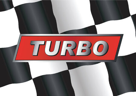 gti: Checkered flag with TURBO badge on it Illustration