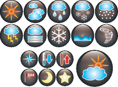 hot temperature: Botones de cristal vectoriales con diversa clase de s�mbolos meteorol�gicos