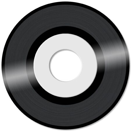 45rpm vinyl record with empty label in white background Stock Photo