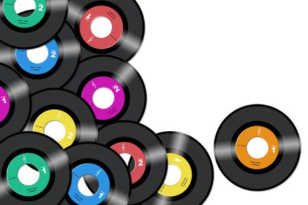 45rpm vinyl records with diferent label colors in white background Stock Photo
