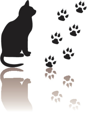 Cat and paws silhouettes