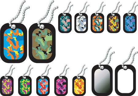 name plate: Dog-tags. Empty and with camouflage patterns in white background