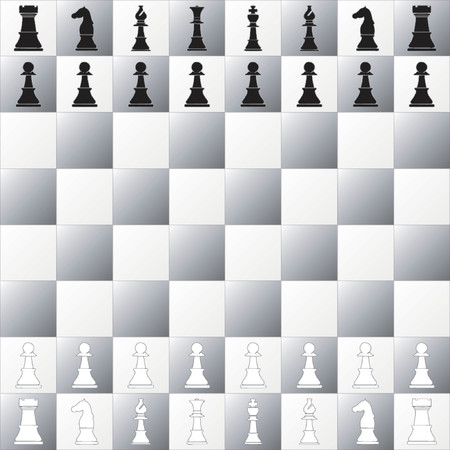 Complete set of a chess game Pieces and chessboard Vector