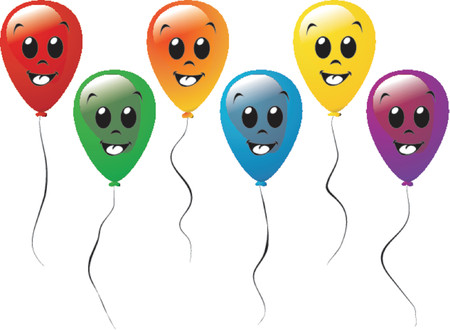 uniformity: Balloons of different colors with a smiley face