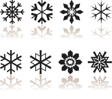 Snow flakes with reflection