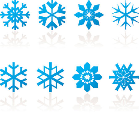 snow flakes: Snow flakes met reflectie