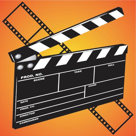 clap board: Movie clapboard en perspectiva