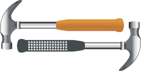 hammer head: Two different hammers over white background