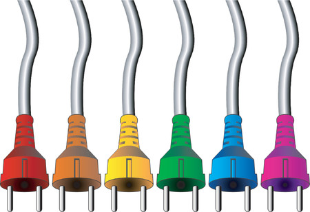volts: Electric plugs of different colors Illustration