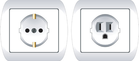 volts: Two electric plugs European and american