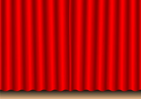 Closed red movie curtain photo