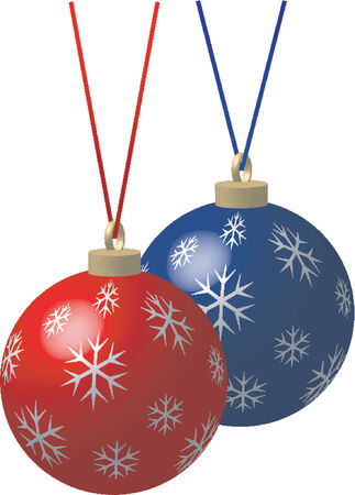 Blue and red Christmas balls with ribbon of the same color over white background Vector