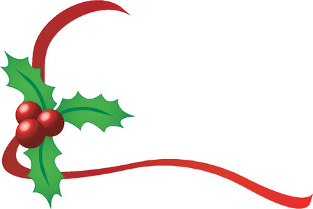 corner ornament: Christmas holly with red ribbons over white background