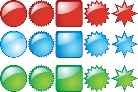 vectorial: Vectorial glass button with three different colors Illustration