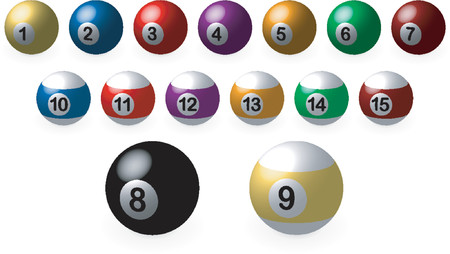 Pool balls_Complete set over white background and with light coming from the upper left Vector