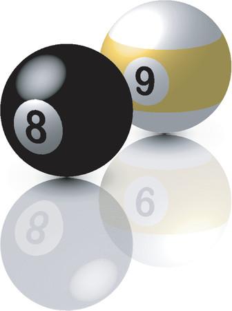reflexe: Poule balls_Eight et neuf ballon avec r�flexe sur fond blanc  Illustration