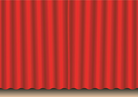 Closed red movie curtain Vector