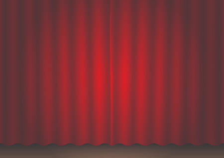 Closed red movie curtain