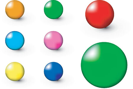 Spheres of different colors over white background Use with or without the shadows
