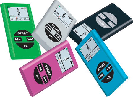 Mp3 players with different colors over white background