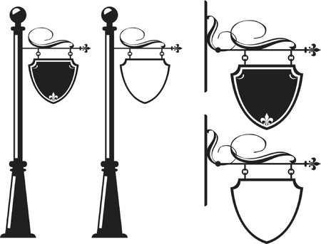 inn: Hanging signs to walls, lamps and poles