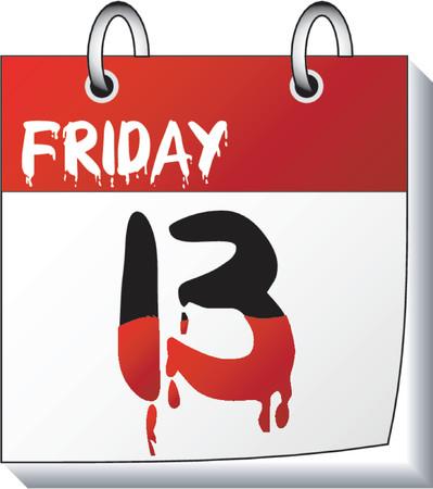 superstitious: Calendar_Organizer_Friday tredici  Vettoriali
