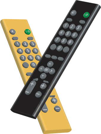 command button: Black and yellow remote controls Illustration
