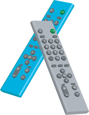 vcr: Gray and blue remote controls