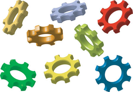 cooperate: Cogwheels in different perspectives and colors over white background