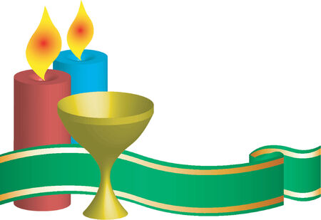 Two candles one chalice and ornamental ribbon Vector