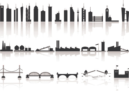 종류: Silhoutte buildings factorys and bridges of different kind