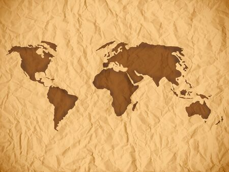 Old wrinkled paper sheet. Old paper texture with world map. photo