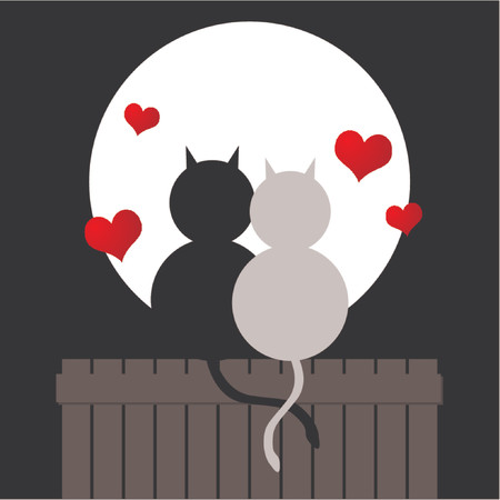 engaged: Couple of cats watching the moonlight. Love cats. Valentines day. Illustration