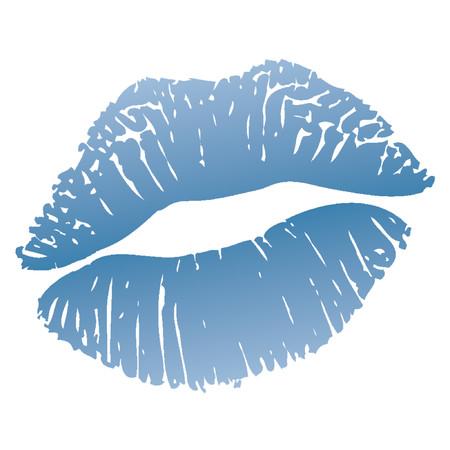 kiss lips: Cold kiss_Lips azul o rojo de labios marca (�reas blancas en los labios son transparentes sobre cualquier fondo)  Vectores