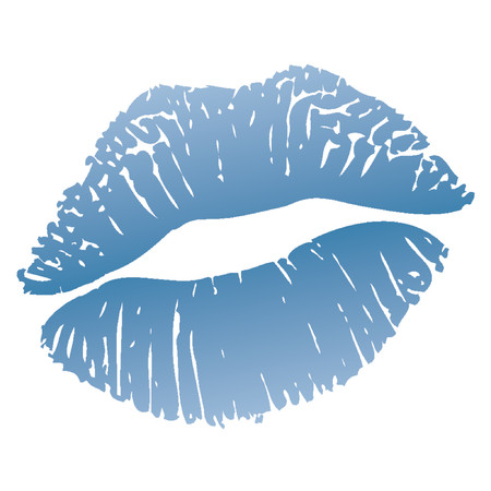 blue print: Cold kiss_Lips or blue lipstick mark (white areas on the lips are transparent over any background)