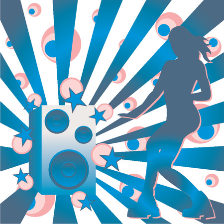 Loudspeaker and girl over abstract pattern Vector