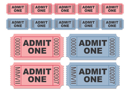 Blue and pink movie tickets. Cinema tickets. Admit one. You can change numbers and colors easily. Illustration