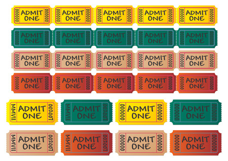 Movie tickets with different colors. Cinema tickets. Admit one. You can change numbers and colors easily.