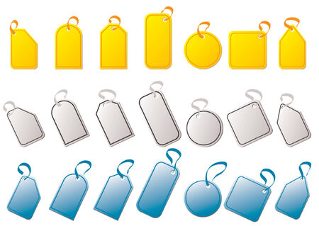 identify: Tags with different colors and shapes over white background Illustration