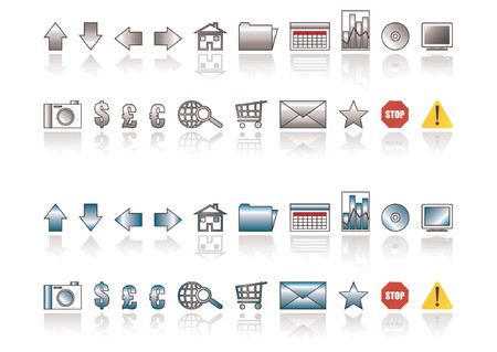 easily: Two sets of web icons with different colors. You can change colors easily Illustration