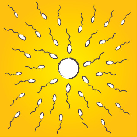 gamete: Representation of spermatozoids fertilizing an ovule over yellow background Illustration