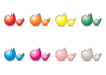 Easter eggs with different colors over white background Stock Vector - 709344