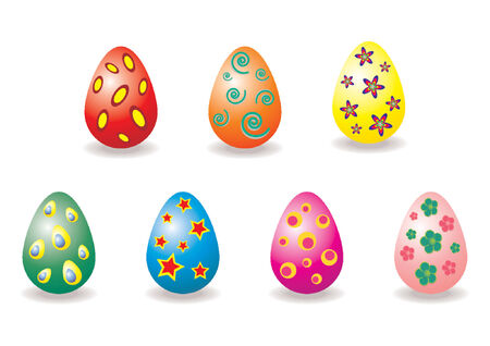 Easter eggs with different colors and patterns over white background Stock Vector - 709347