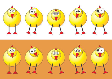 Easter chicks with different faces and positions over white and orange background Vector