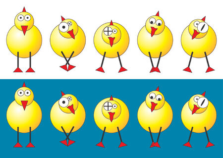 Easter chicks with different faces and positions over white and blue background Stock Vector - 709345